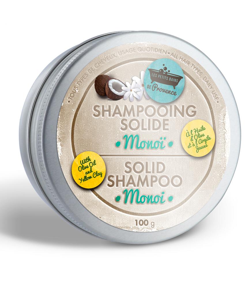 Shampooing solide boite métal Monoï Les Petits Bains de Provence