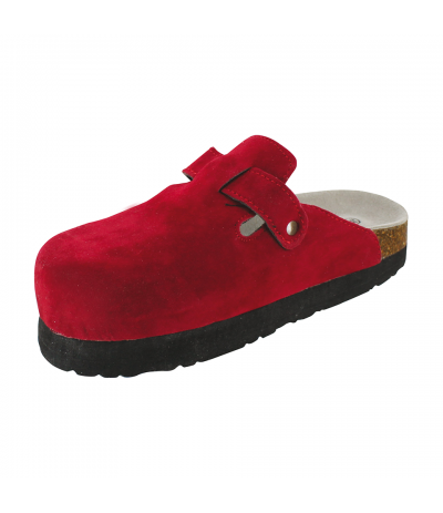 Sabot Daim Silhouette Confort Rouge