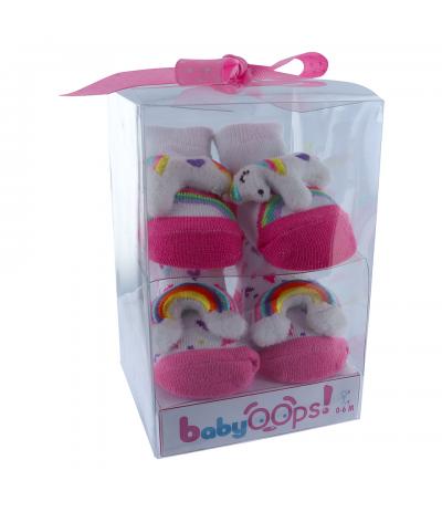 Chaussettes Bébé 0-9 mois Licorne Arc en Ciel x 2 paires BabyOops