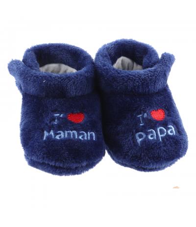 Chaussons d'intérieur 6-12mois Papa Maman Bleu BabyOops