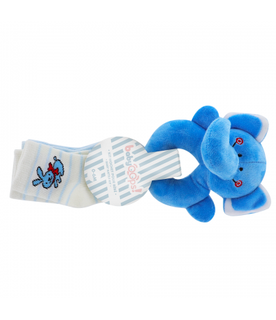 Kit Hochet pour bébé Eléphant bleu BabyOops