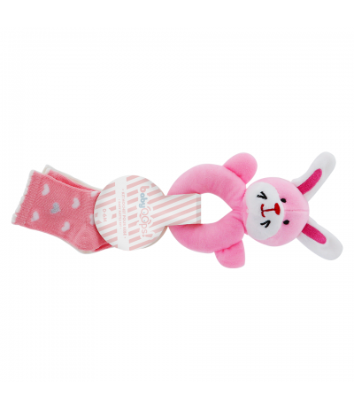 Kit Hochet pour bébé Lapin rose BabyOops