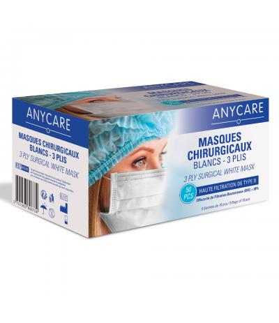 Masques chirurgicaux 3 plis Blanc Boite de 50 Anycare