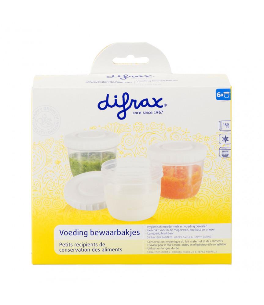Difrax - Pots de conservation lait maternel et aliments x6 - Ref 617